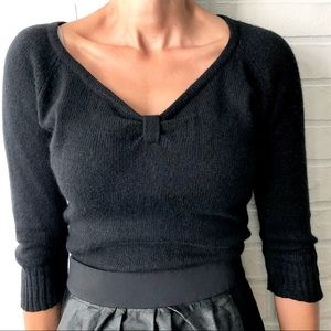 Black angora blend knot front cropped sweater L